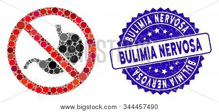 Mosaic No Stomach Icon And Corroded Stamp Watermark With Bulimia Nervosa Text. Mosaic Vector Is Form