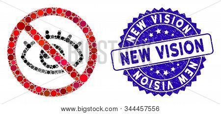 Mosaic No Vision Icon And Rubber Stamp Seal With New Vision Caption. Mosaic Vector Is Designed With