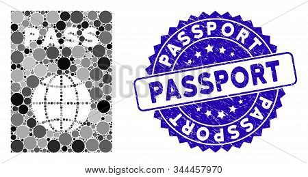 Mosaic Passport Icon And Grunge Stamp Seal With Passport Phrase. Mosaic Vector Is Composed With Pass