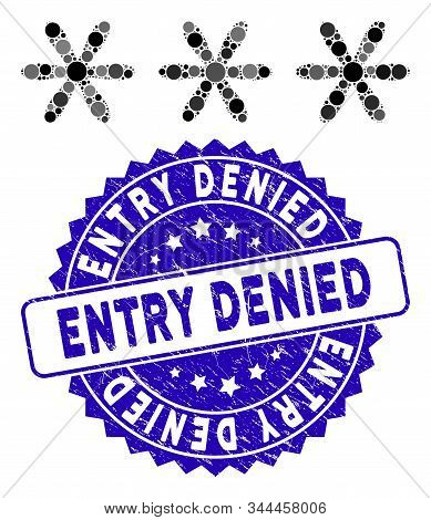 Mosaic Password Code Icon And Rubber Stamp Seal With Entry Denied Phrase. Mosaic Vector Is Formed Wi