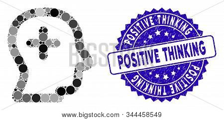 Mosaic Positive Thinking Icon And Rubber Stamp Watermark With Positive Thinking Phrase. Mosaic Vecto