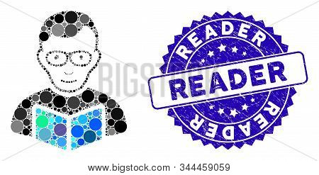 Mosaic Reader Student Icon And Grunge Stamp Watermark With Reader Caption. Mosaic Vector Is Created