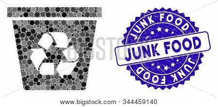 Mosaic Recycle Bin Icon And Grunge Stamp Seal With Junk Food Caption. Mosaic Vector Is Composed With