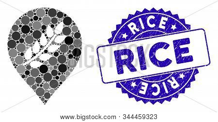 Mosaic Rice Plantation Marker Icon And Distressed Stamp Seal With Rice Caption. Mosaic Vector Is Com