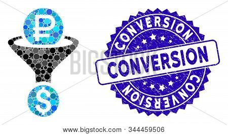 Mosaic Rouble Currency Conversion Icon And Rubber Stamp Seal With Conversion Caption. Mosaic Vector
