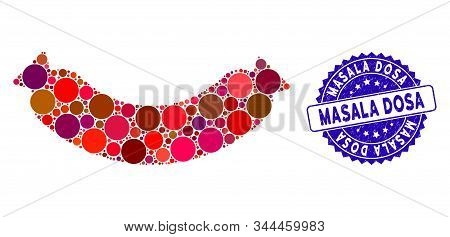 Mosaic Sausage Icon And Rubber Stamp Seal With Masala Dosa Text. Mosaic Vector Is Created From Sausa