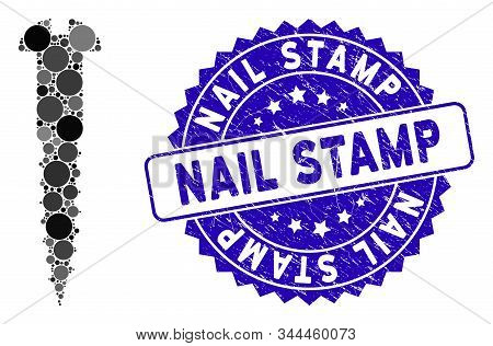 Mosaic Screw Icon And Grunge Stamp Seal With Nail Stamp Caption. Mosaic Vector Is Designed With Scre