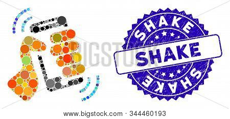 Mosaic Shake Smartphone Icon And Rubber Stamp Seal With Shake Phrase. Mosaic Vector Is Composed With