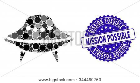 Mosaic Space Ship Icon And Rubber Stamp Watermark With Mission Possible Phrase. Mosaic Vector Is Des