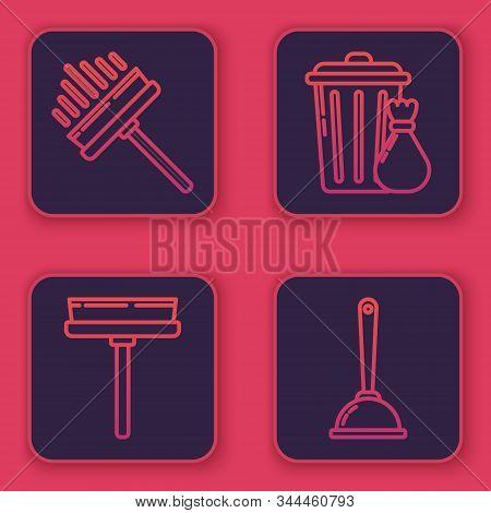 Set Line Squeegee, Scraper, Wiper, Squeegee, Scraper, Wiper, Trash Can And Garbage Bag And Toilet Pl