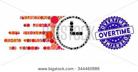 Mosaic Speed Time Icon And Rubber Stamp Seal With Overtime Phrase. Mosaic Vector Is Composed With Sp