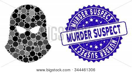 Mosaic Terrorist Balaklava Icon And Distressed Stamp Seal With Murder Suspect Text. Mosaic Vector Is