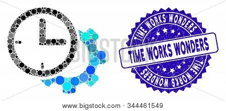 Mosaic Time Setup Gear Icon And Corroded Stamp Seal With Time Works Wonders Phrase. Mosaic Vector Is