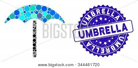 Mosaic Umbrella Icon And Corroded Stamp Seal With Umbrella Phrase. Mosaic Vector Is Designed With Um