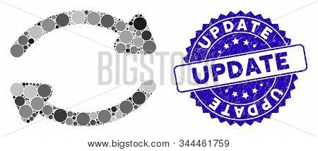 Mosaic Update Icon And Corroded Stamp Seal With Update Phrase. Mosaic Vector Is Designed With Update