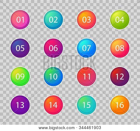 Bullet Marker Icon. Number Points 1, 3, 4, 5, 7, 9, 10, 12 For Infographic, Presentation. Set Of Gra