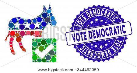 Mosaic Vote Democratic Icon And Grunge Stamp Seal With Vote Democratic Caption. Mosaic Vector Is Com