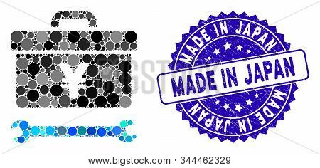 Mosaic Yen Toolbox Icon And Grunge Stamp Watermark With Made In Japan Phrase. Mosaic Vector Is Creat