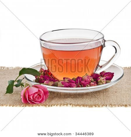 Drink Glass Cup with Fresh Rose flower isolated on white