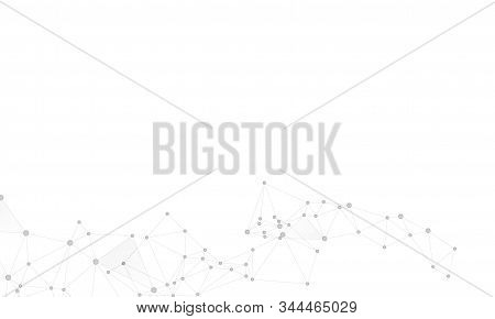 Big Data Cloud Scientific Concept. Network Nodes Greyscale Plexus Background. Artificial Intelligenc