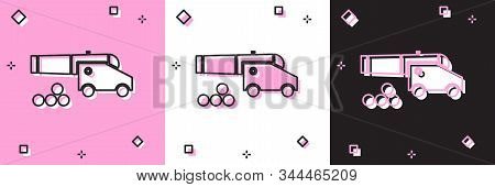 Set Cannon With Cannonballs Icon Isolated On Pink And White, Black Background. Medieval Weapons. Vec
