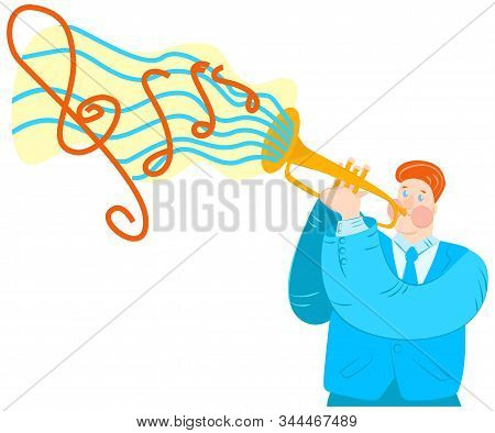 Vector Flat Illustration Trumpeter Playing Trumpet. Abstract Cloud With Notes Emerges From Musical I