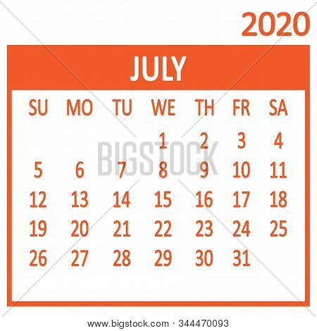 July. Seventh Page Of Set. Calendar 2020, Template. Week Starts From Sunday. Vector Illustration