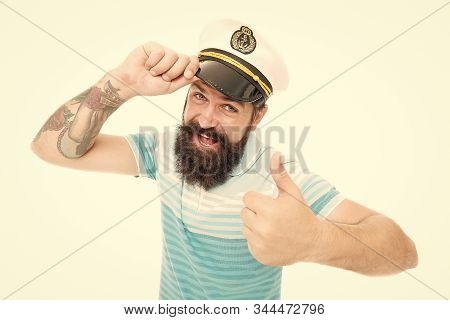 Brutal Seaman Isolated On White. Captain Concept. Welcome Aboard. Bearded Man Captain Of Ship. Sea C