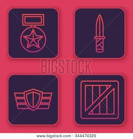 Set Line Military Reward Medal , Military Reward Medal , Military Knife And Military Ammunition Box.