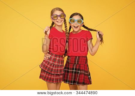 Summer Vacation. Party Time. School Prom Party. Red Fashion Girls. Happy Little Girls In Checkered S