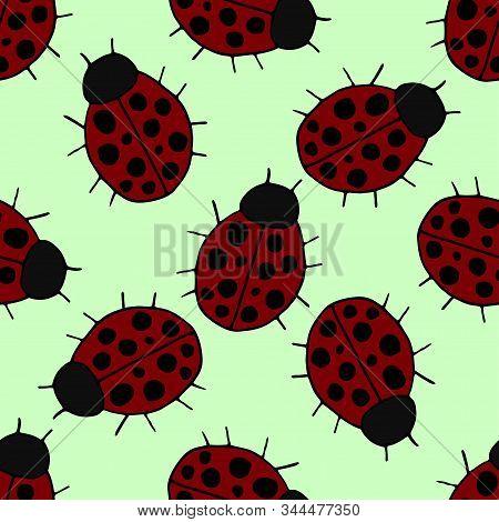 Cute Seamless Pattern. Hand-drawn Ladybug Sketch Symbol. Vector Ladybug Element In Trendy Style. Vec