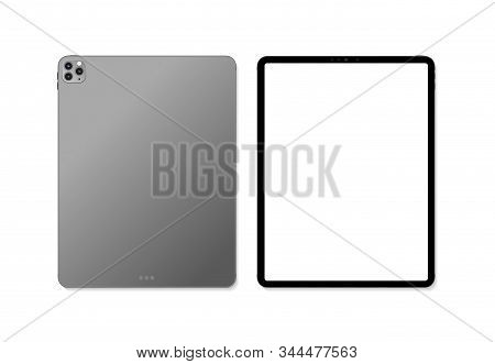 Empty Screen Realistic New Tablet Computer Mockup Design. Modern Tablet Pc Isolated On White Backgro