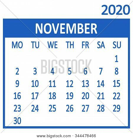 November. Eleventh Page Of Set. Calendar 2020, Template. Week Starts From Monday. Vector Illustratio