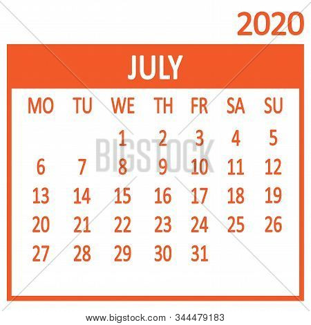 July. Seventh Page Of Set. Calendar 2020, Template. Week Starts From Monday. Vector Illustration