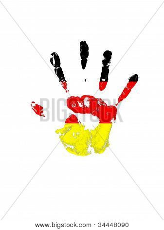 Palm Print In Color On A White Background Germany