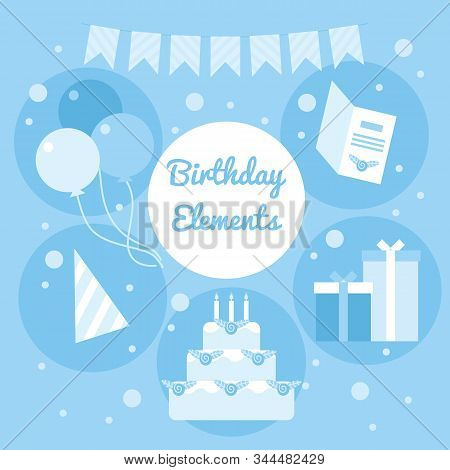 Blue Cartoon Birthday Elements. Decoration Objects, Garlands, Cake, Baloons, Card, Gifts And Party H