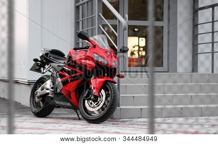 Krasnoyarsk, Russia - September 5, 2019: Red And Black Sportbike Honda Cbr 600 Rr 2005 Pc37.