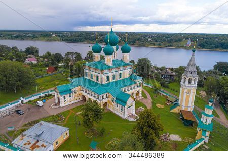 Ancient Resurrection Cathedral On A Cloudy July Day (shooting From A Quadrocopter). Tutaev (romanov-