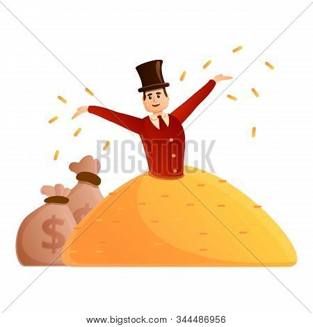 Millionaire With Top Hat Icon. Cartoon Of Millionaire With Top Hat Vector Icon For Web Design Isolat