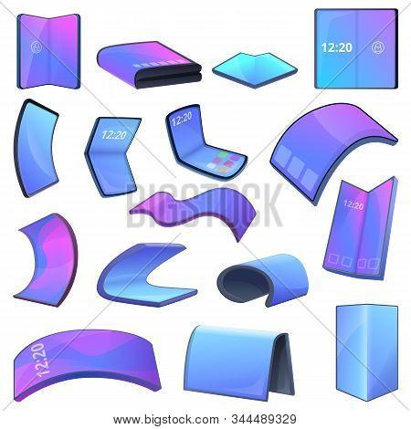 Flexible Screen Icons Set. Cartoon Set Of Flexible Screen Vector Icons For Web Design