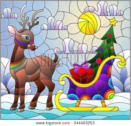 Illustration In Stained Glass Style On The Theme Of Christmas And New Year, A Deer Harnessed To A Sl