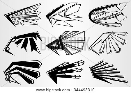 A Set Of Robot Wings Of The Future. Wings In The Style Of Manga. Black And White Set Of Wings From V