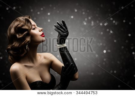 Woman Beauty Retro Hair Style, Fashion Model Make Up Hairstyle, Elegant Lady Blowing To Glove Hand