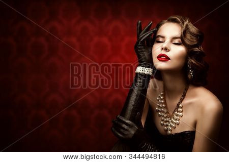 Woman Retro Beauty Portrait, Fashion Model Make Up Hairstyle, Elegant Lady Old Fashioned Style