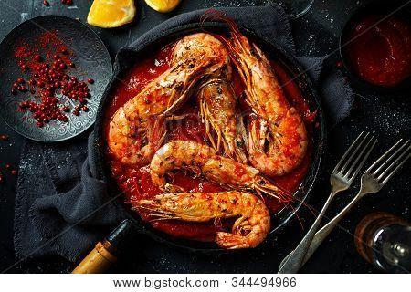 Roasted Shrimps On Pan On Table