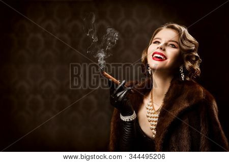 Woman Smoking Cigar, Fashion Model Retro Beauty Style, Happy Old Fashioned Lady