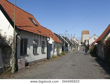 Visby, Sweden On October 12. Street View Of Buildings On October 12, 2019 In Visby, Sweden. Old Hous