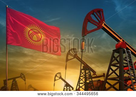 Kyrgyzstan Oil Industry Concept, Industrial Illustration. Fluttering Kyrgyzstan Flag And Oil Wells O