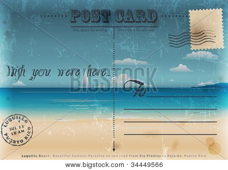 Vintage summer postcard. Vector illustration.
