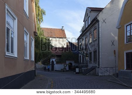 Visby, Sweden On October 11. Street View Of Buildings On October 11, 2019 In Visby, Sweden. Old Hous